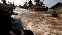 Flooding from a tsunami